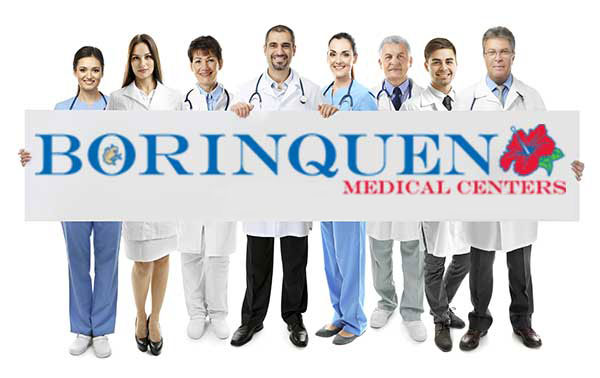 Group of Healthcare Professionals holding a banner with the Borinquen Logo